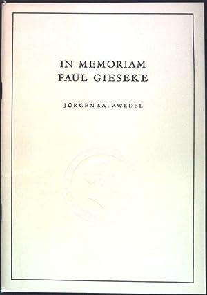 In Memoriam Paul Gieseke; Alma Mater, Beiträge: Salzwedel, Jürgen: