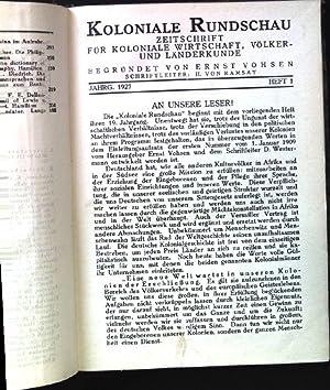 Koloniale Rundschau. Zeitschrift für koloniale Wirtschaft, Völker-: Vohsen, Ernst und