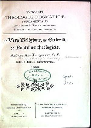 De vera religione, de ecclesia, de fontibus: Tanquerey, Ad.: