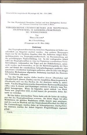 Vergleichende Untersuchungen zum Tryphtophan-Stoffwechsel in Leberzellenfraktionen bei: Kunte, Helga: