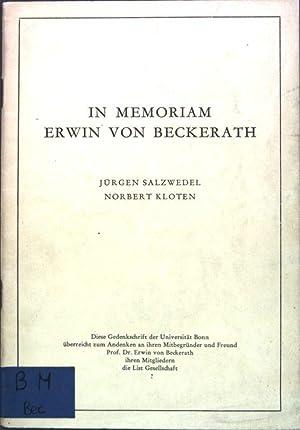 In Memoriam Erwin von Beckerath;: Salzwedel, Jürgen und