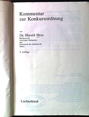 Kommentar zur Konkursordnung.: Hess, Harald: