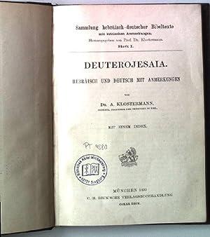 Deuterojesaia. Hebräisch und Deutsch mit Anmerkungen. Sammlung hebräisch-deutscher ...