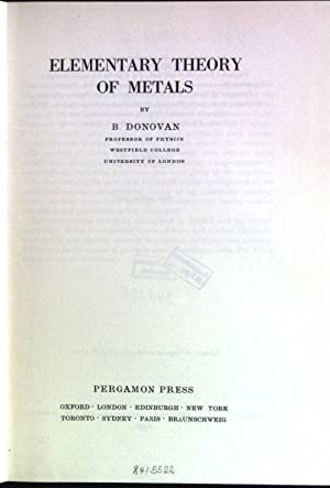 Elementary theory of metals International Encyclopedia of: Donovan, B.: