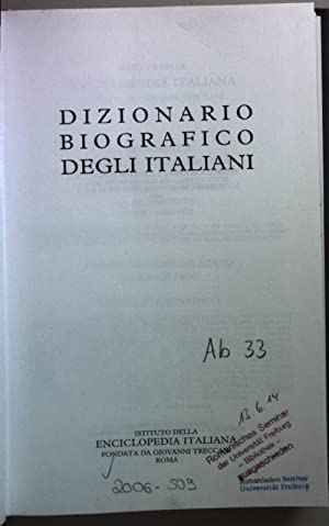Dizionario Biografico Degli Italiani (66 vols./ 66 Bände) - Vol. 1 - 66: A - Macchetti.