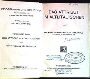 Das Attribut im Altlitauischen Indogermanische Bibliothek; 3. Abt., 14. Band: Stegmann von ...