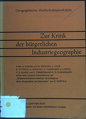Zur Kritik der bürgerlichen Industriegeographie - Ein: Beck, G.: