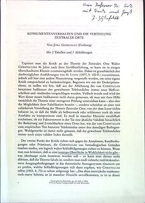 Konsumentenverhalten und die Verteilung zentraler Orte;: Güßefeldt, Jörg: