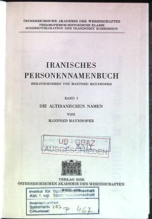 Iranisches Personennamenbuch, Bd. 1: Die avestischen Namen.: Mayrhofer, Manfred: