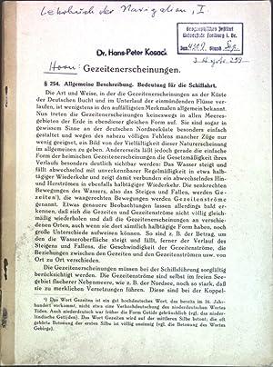 Gezeitenerscheinungen; Aus: Lehrbuch der Navigation II;: Horn: