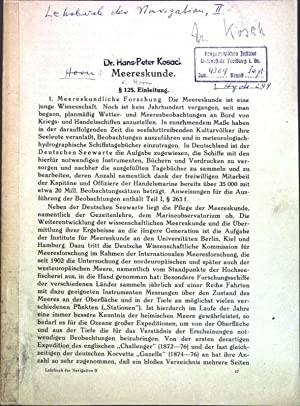 Meereskunde; Aus: Lehrbuch der Navigation II;: Horn: