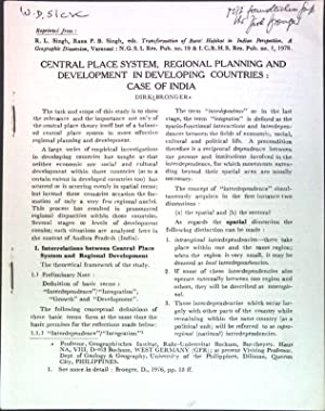 Central place system, regional planning and development: Bronger, Dirk: