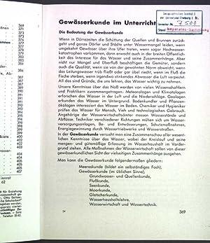 Gewässerkunde im Unterricht;: Benzing, A.: