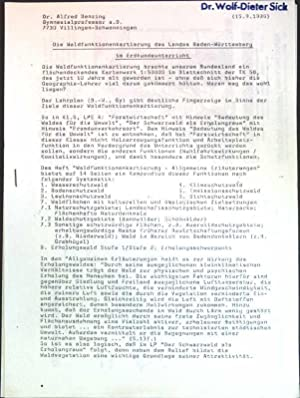 Die Waldfunktionenkartierung des Landes Baden-Württemberg im Erdkundeunterricht;: Benzing, Alfred: