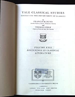 Beginnings in Classical Literature Yale Classical Studies,: Dunn, Francis M.