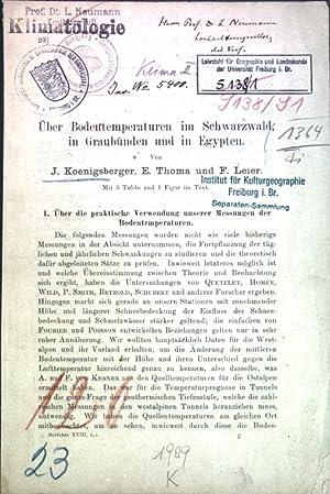 Über Bodentemperaturen im Schwarzwald, in Graubünden und in Egypten;: Koenigsberger, J., E. Thoma ...