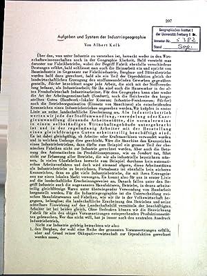Aufgaben und System der Industriegeographie;: Kolb, Albert: