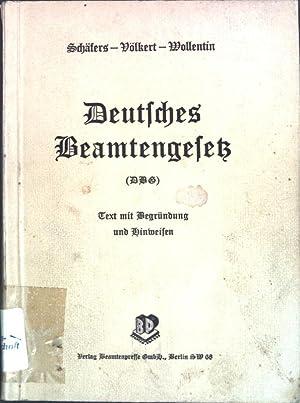 Deutsches Beamtengesetz vom 26. Januar 1937 (Reichsgesetzblatt: Schäfers, Karl, Rudolf