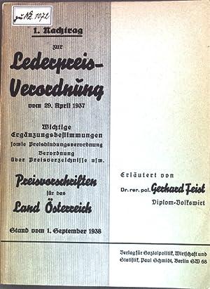 1. Nachtrag zur Lederpreisverordnung vom 29. April: Feist, Gerhard:
