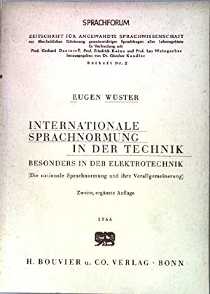 Internationale Sprachnormung in der Technik. Besonders in: Wüster, Eugen: