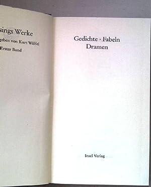 Gedichte, Fabeln, Dramen. Lessings Werke. Band 1.: Wölfel, Kurt (Hrsg.):