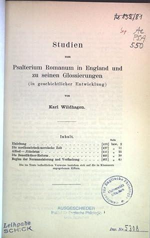 Studien zum Psalterium Romanum in England und: Wildhagen, Karl:
