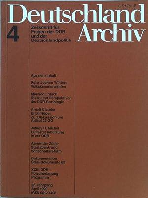 Volkskammerwahlen; Stand und Perspektiven der DDR-Soziologie; Zur: Winters, Peter Jochen,