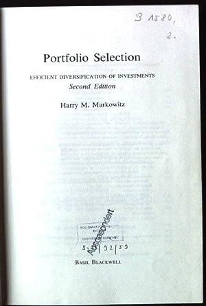Portfolio Selection: Efficient Diversification of Investments: Markowitz, Harry M.: