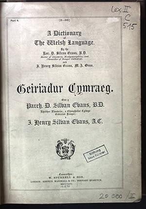 A Dictionary of The Welsh Language. Geiriadur Cymraeg: Ebans, Silban and Henry Silban Ebans: