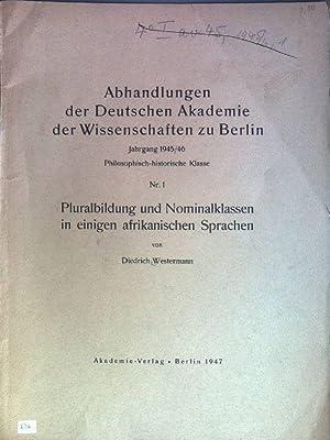Pluralbildung und Nominalklassen in einigen afrikanischen Sprachen: Westermann, Diedrich: