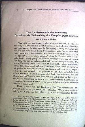 Das Taufbekenntnis der römischen Gemeinde als Niederschlag: Krüger, G.:
