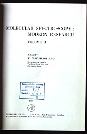 Molecular Spectroscopy - Modern Research: v. 2: Rao, K.Narahari: