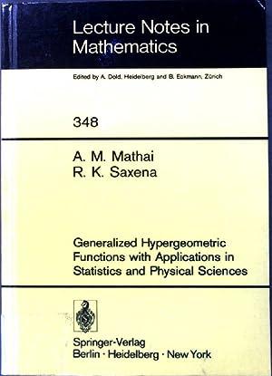Generalized hypergeometric functions with applications in statistics: Mathai, Arakaparampil M.