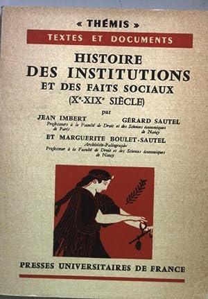 Histoire des institutions et des faits sociaux: Imbert, Jean, Gerard