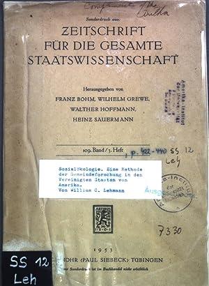 Sozialökologie: Eine Methode der Gemeindeforschung in den: Lehmann, William C.: