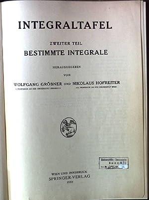 Integraltafel, Zweiter Teil: Bestimmte Integrale: Gröbner, Wolfgang und