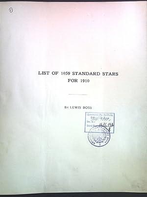List of 1059 Standard Stars for 1910;: Boss, Lewis: