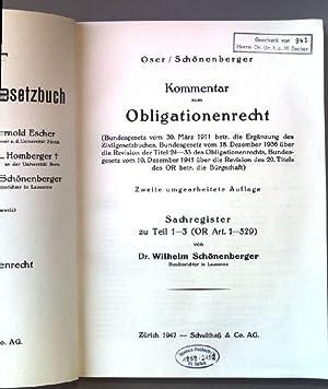 Kommentar zum Obligationenrecht. Sachregister zu Teil 1-3: Schönenberger, Wilhelm: