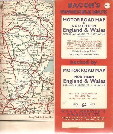 Map Of Southern England And Wales.Motor Road Map Of Northern England Wales