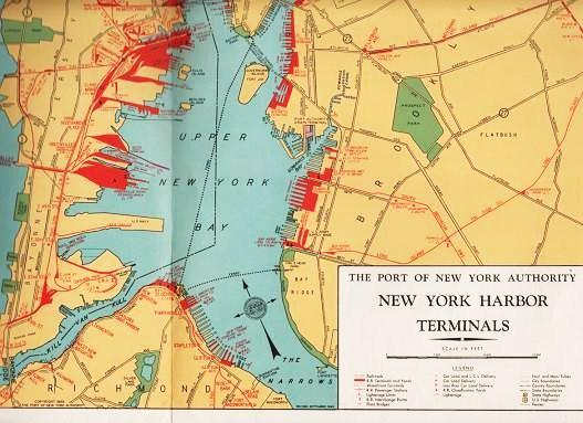 SHIP VIA THE PORT OF NEW YORK--CROSSROADS OF THE WORLD'S SHIP AND AIR LANES [map] New York Port Authority Very Good