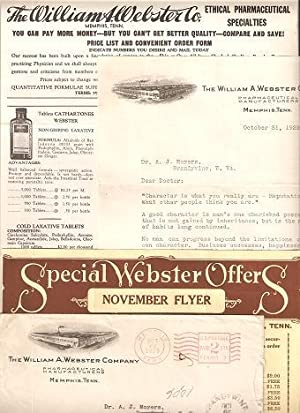 WILLIAM A. WEBSTER CO. ETHICAL PHARMACEUTICAL SPECIALTIES:; Small collection of sales literature: ...