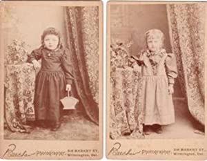 TWO CABINET CARD PHOTOS OF LITTLE GIRLS IN TURN-OF-THE-CENTURY OUTFITS