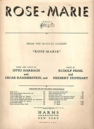 Sheet music (1) from this Broadway show.: ROSE-MARIE