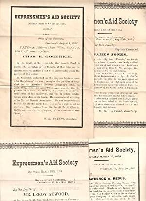 GROUP OF FOUR (4) DEATH NOTICES FOR MEMBERS OF THE EXPRESSMEN'S AID SOCIETY:; Each giving the nam...