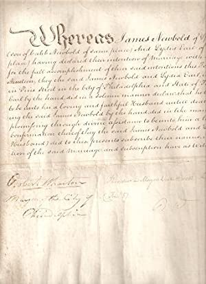 CERTIFICATE OF MARRIAGE BETWEEN JAMES NEWBOLD AND LYDIA EARL OF BURLINGTON COUNTY, NEW JERSEY . 1819