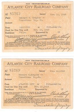 TWO (2) FREE PASSES ISSUED TO A TRANSITMAN FOR THE READING RAILROAD, BY THE ATLANTIC CITY RAILROA...
