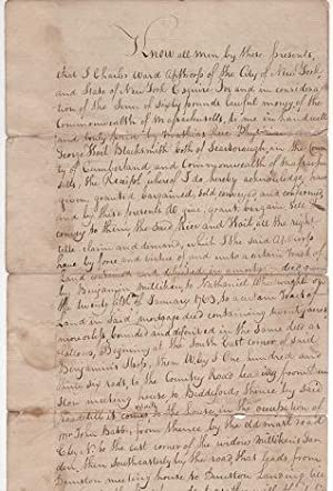 HANDWRITTEN LAND TRANSFER TO MATHIAS RICE, PHYSICIAN, AND GEORGE HOIT, BLACKSMITH, NEW YORK, NEW ...