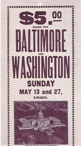 $5.00 ROUND TRIP, BALTIMORE AND WASHINGTON, SUNDAY, MAY 13 AND 27, 1928.