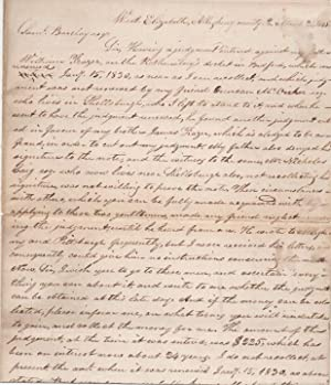 HANDWRITTEN LEGAL DOCUMENT: WEST ELIZABETH, ALLEGHENY COUNTY, PA, MARCH 26, 1845:; Letter from Mo...