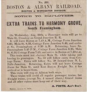 BOSTON & ALBANY RAILROAD, BOSTON & WORCESTER DIVISION. NOTICE TO EMPLOYEES. EXTRA TRAINS TO HARMO...